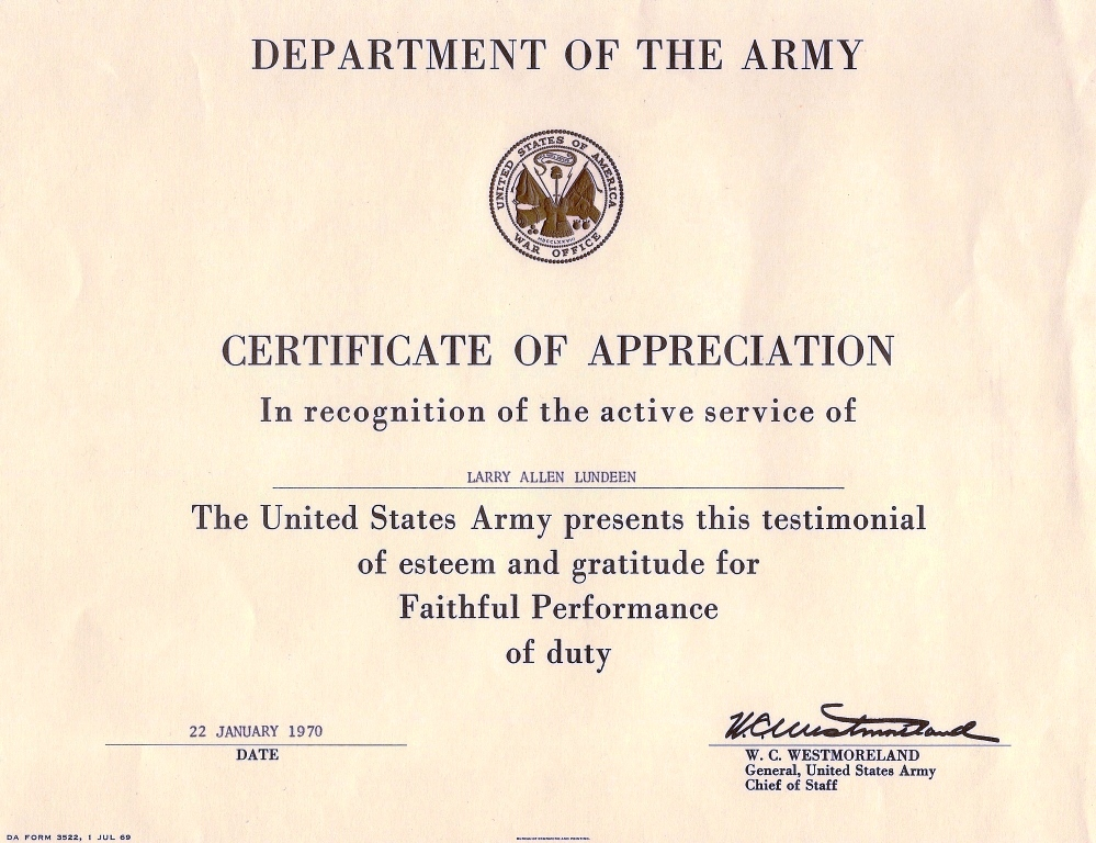Certificate Of Achievement Army Template